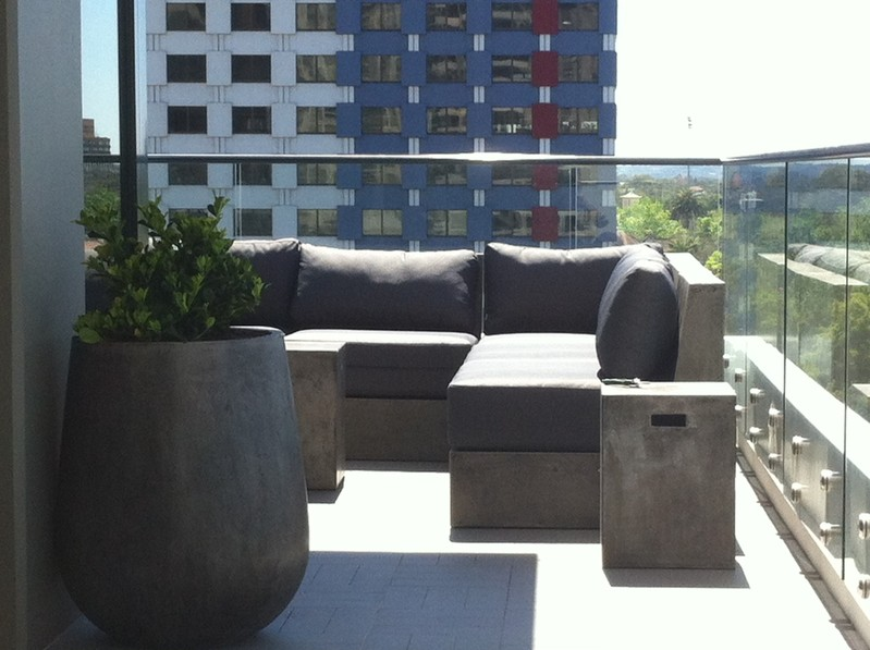 contemporary concrete furniture and pots